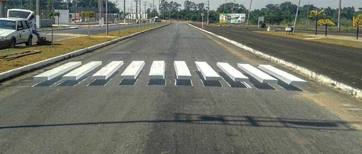 walyson nogueira pinta faixa de pedestre em 3D no Mato Grosso
